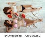 two beautiful girlfriends...   Shutterstock . vector #729960352