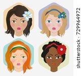 cartoon vector girl's faces set   Shutterstock .eps vector #729964972