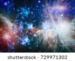 nebula and galaxies in space.... | Shutterstock . vector #729971302