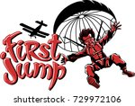 the first jump with a parachute | Shutterstock .eps vector #729972106
