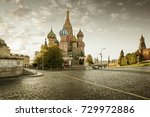 st. basil's cathedral on red... | Shutterstock . vector #729972886