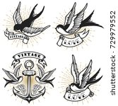 set of vintage style tattoo... | Shutterstock . vector #729979552
