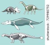 dinosaurs skeletons silhouettes ...   Shutterstock .eps vector #729980752