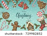 festive christmas background... | Shutterstock .eps vector #729982852