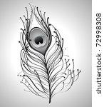 Illustration Of Black Peacock...
