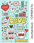 set of hand drawn doodle love... | Shutterstock .eps vector #729989176