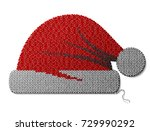 santa claus hat of knitted... | Shutterstock . vector #729990292