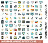 100 programming review icons... | Shutterstock . vector #730000015
