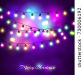 christmas lights festive... | Shutterstock .eps vector #730006192