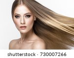 beautiful blond girl with a... | Shutterstock . vector #730007266