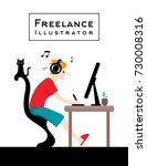 freelance illustrator design... | Shutterstock .eps vector #730008316