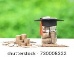 graduation hat on the glass... | Shutterstock . vector #730008322