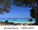 view on tropical beach and sea...   Shutterstock . vector #730014592