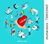 isometric digital medical care...   Shutterstock .eps vector #730015465