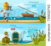 summer fishing banner  fisher... | Shutterstock .eps vector #730020742