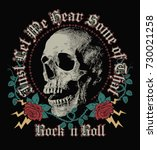 rock in roll  skull and roses... | Shutterstock .eps vector #730021258