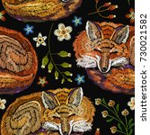 embroidery sleeping fox and... | Shutterstock .eps vector #730021582