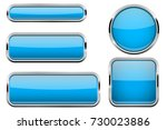 blue buttons set. glass icons... | Shutterstock .eps vector #730023886
