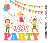 kids party banner  poster with... | Shutterstock .eps vector #730028182