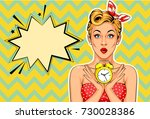 beautiful pin up model with... | Shutterstock .eps vector #730028386