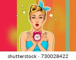 beautiful pin up girl with... | Shutterstock .eps vector #730028422