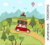 family car trip in countryside  ... | Shutterstock .eps vector #730028542