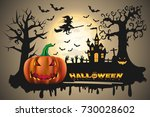 happy halloween background with ... | Shutterstock .eps vector #730028602