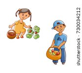 vector flat children at garden... | Shutterstock .eps vector #730034212