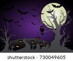 happy halloween night and... | Shutterstock .eps vector #730049605