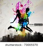 two girls jumping over city.   Shutterstock .eps vector #73005370