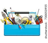 vector blue toolbox with... | Shutterstock .eps vector #730053955