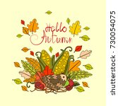 hello autumn season banner with ... | Shutterstock .eps vector #730054075