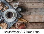 coffee cup  creamer and sugar...   Shutterstock . vector #730054786