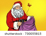 sad santa and empty christmas... | Shutterstock .eps vector #730055815