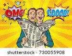 good and bad newspaper news ... | Shutterstock .eps vector #730055908
