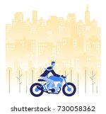 a man is go to working by... | Shutterstock .eps vector #730058362