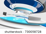 3d glossy reflective white and... | Shutterstock . vector #730058728