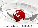 3d white curved shapes and red... | Shutterstock . vector #730058752