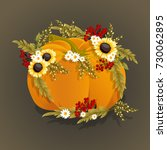 hand drawn pumpkin with flowers.... | Shutterstock .eps vector #730062895