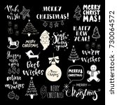 set of christmas and happy new... | Shutterstock .eps vector #730064572