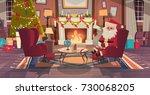 santa claus in living room...   Shutterstock .eps vector #730068205