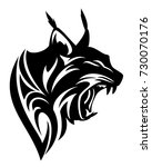 roaring lynx profile head black ... | Shutterstock .eps vector #730070176