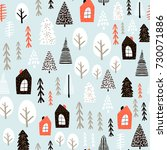 seamless pattern with winter... | Shutterstock .eps vector #730071886