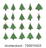 set of hand drawn christmas... | Shutterstock .eps vector #730074325