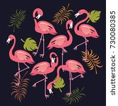 flamingos set tropical bird... | Shutterstock .eps vector #730080385