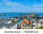 high angle view over harbor of... | Shutterstock . vector #730084102