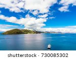 view on lake titicaca landscape ... | Shutterstock . vector #730085302