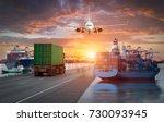 logistics and transportation of ... | Shutterstock . vector #730093945