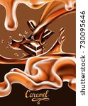 liquid chocolate  caramel or... | Shutterstock .eps vector #730095646