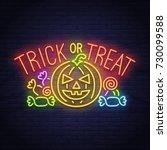 trick or treak. pumpkin and... | Shutterstock .eps vector #730099588